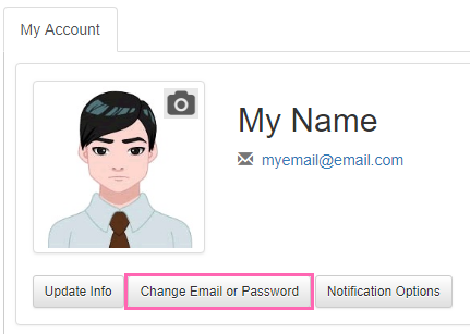 Change Email or Password button in Customer Account