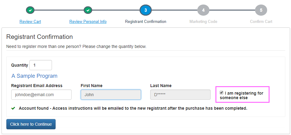 I am registering for someone else checkbox