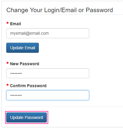 Update Password Button