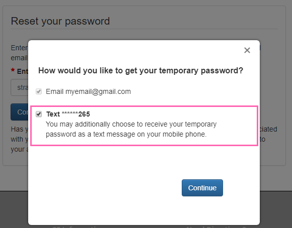 Text Option for receiving temporary password
