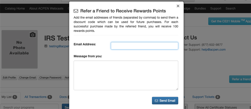 Refer a friend email